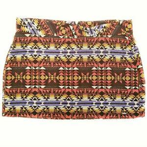 Multi Color Aztec Print Mini Skirt